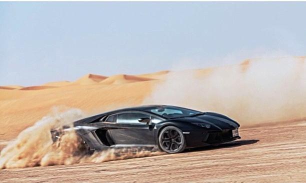 Lamborghini Aventador Drifting In Dubai Desert