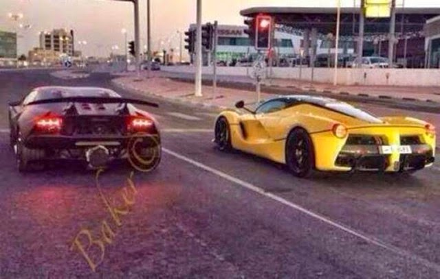 Laferrari And Lamborghini Sesto Elemento On Open Roads In Qatar