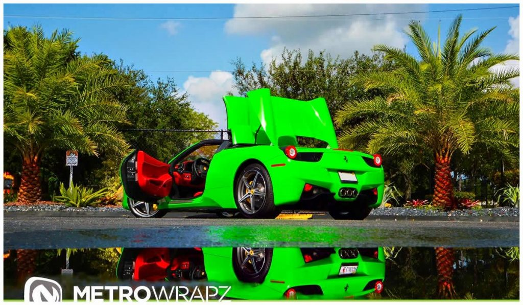 who wants to be subtle but to be honest i think the red interior does not go well with the extreme green and brings to mind kermit the frogs mouth - Ferrari 458 Spider Green
