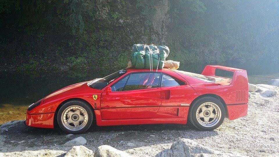 Ferrari Owner Takes His F40 Camping