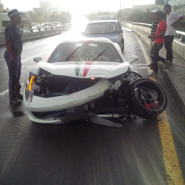 White Ferrari 458 Italia Crashed In Durban South Africa