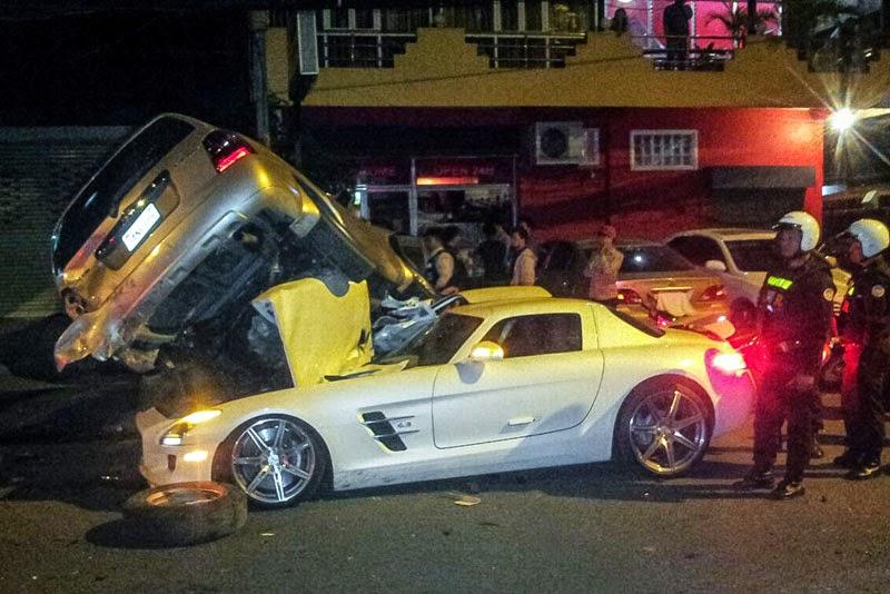 MercedesBenz SLS AMG Slams Into And Under SUV In Cambodia