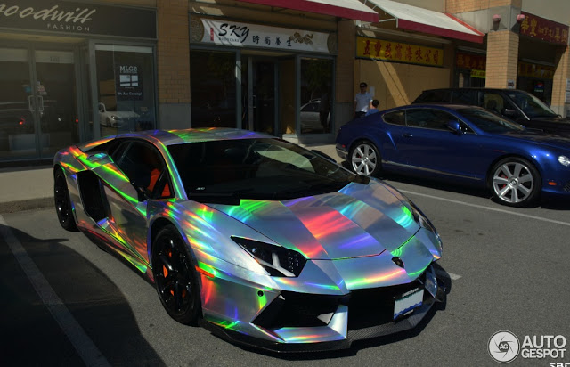 Lamborghini Aventador Spotted In Mind Warping Holographic Wrap